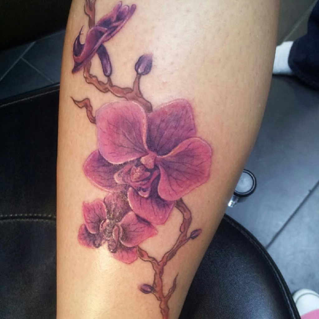 Purple Ink Orchid Flowers Tattoo On Leg Sleeve