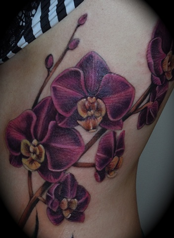 Purple Orchid Flowers Tattoos On Side Rib
