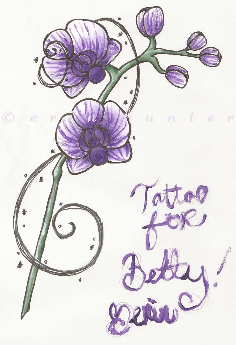 Purple Orchid Tattoos Design