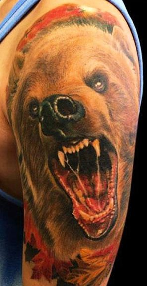Realistic Angry Bear Tattoo On Left Half Sleeve