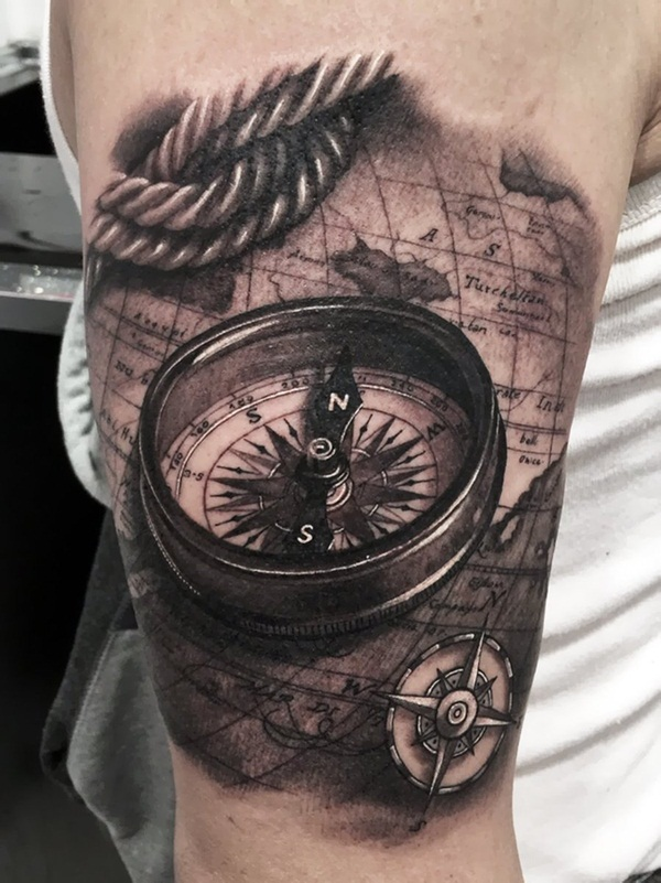 Realistic Compass And Rope Tattoo On Right Bicep