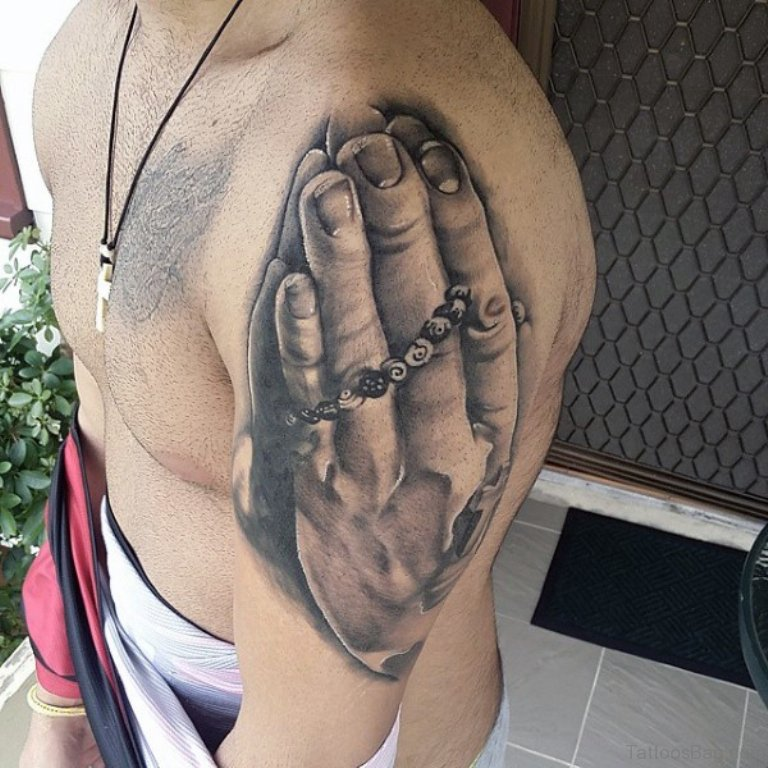 Realistic Grey Praying Hands Tattoo On Left Shoulder