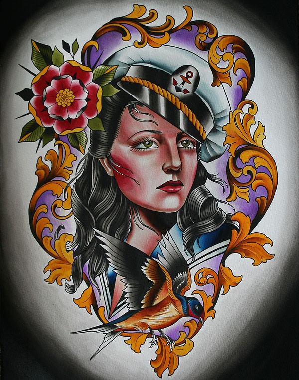 Traditional sailor girl head tattoo for Sailor jerry gypsy tattoo