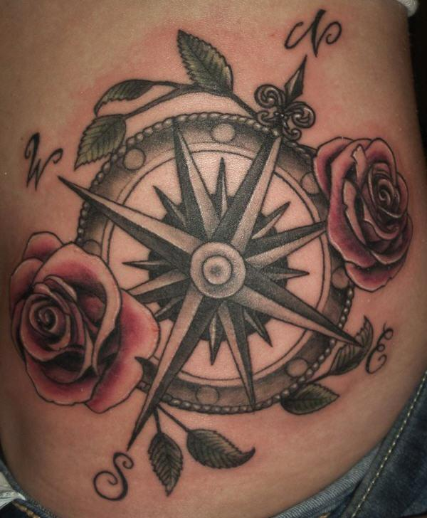 fbb69f40ca89f Red Roses And Compass Tattoo On Rib Side
