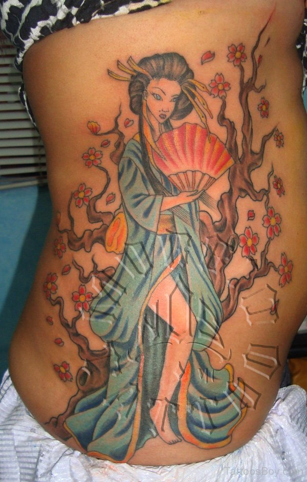 Rib Side Geisha Tattoo For Women