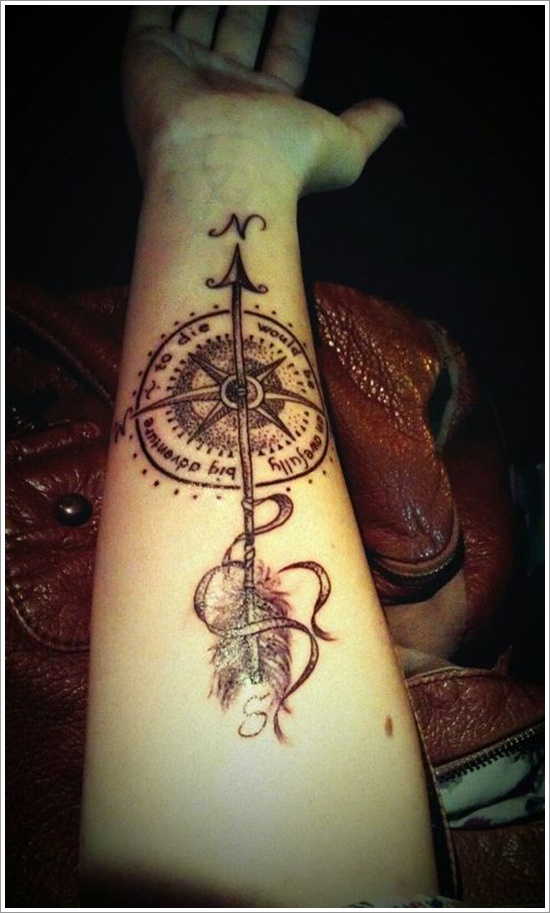 Right Forearm Arrow With Compass Tattoo