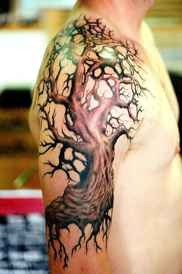 Right Half Sleeve Tree Tattoo For Men