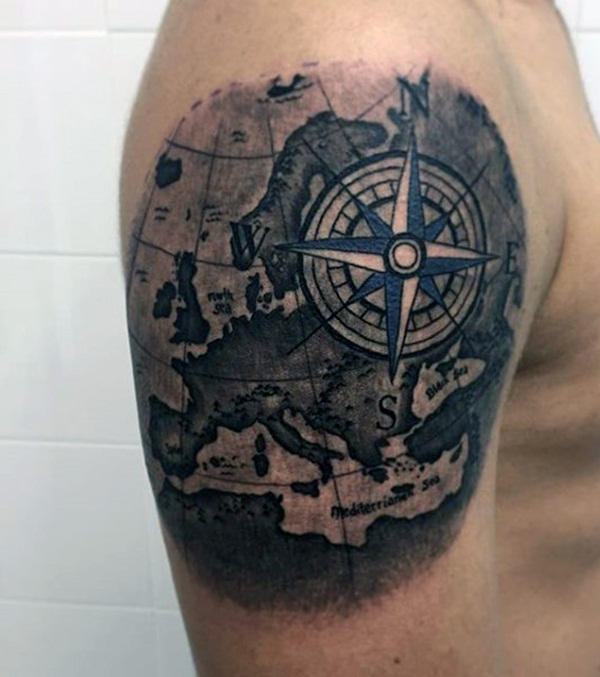 Right shoulder compass tattoo for men gumiabroncs Choice Image