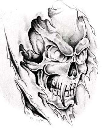 flaming evil skull tattoo design