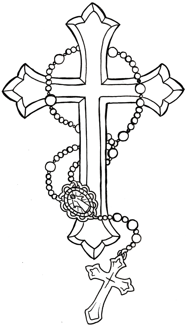 Rosary Cross Tattoo Design