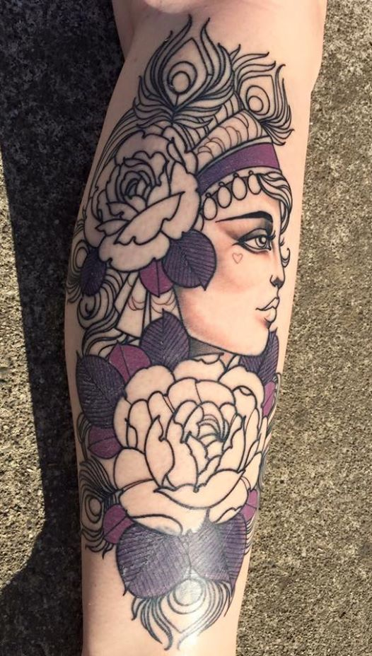 Rose Flowers With Gypsy Tattoo On Side Leg