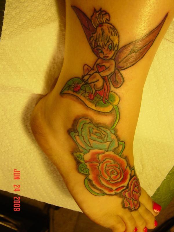 Tinkerbell Tattoo On Foot