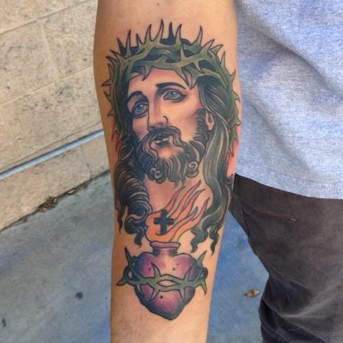 Sacred Heart And Jesus Portrait Tattoo On Forearm