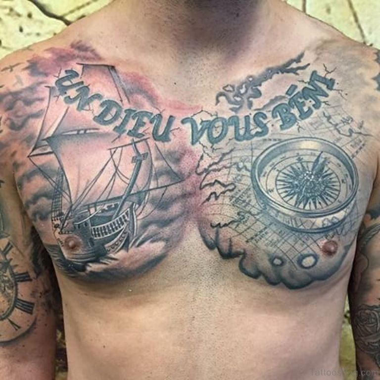 Ship and Compass Tattoo On Man Chest