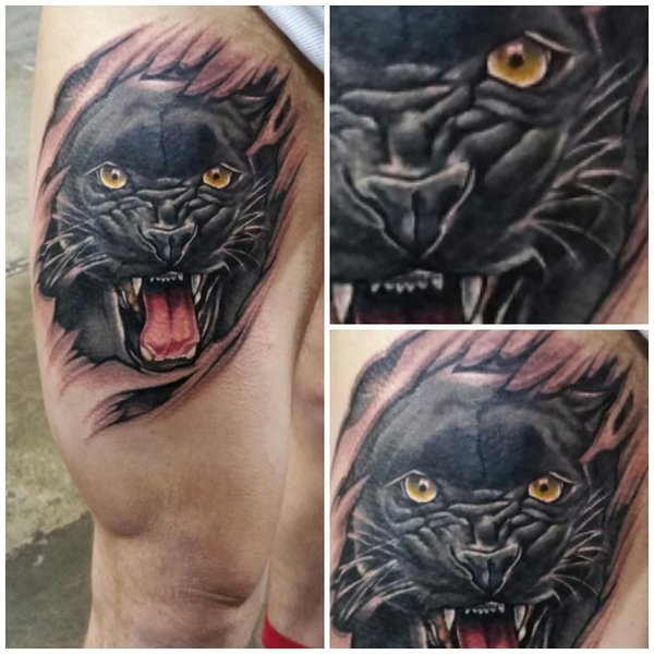 Side Leg Angry Panther Tattoo