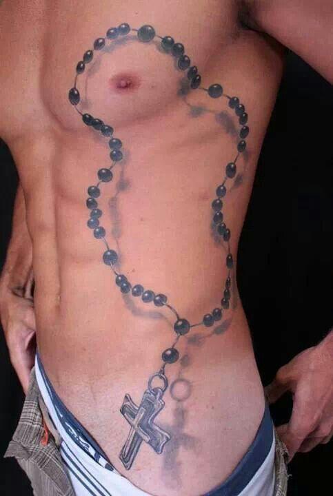 Side Rib Rosary Cross Tattoo For Men