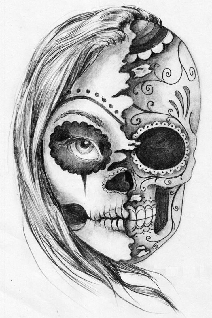 Skull And Girl Face Tattoo Design