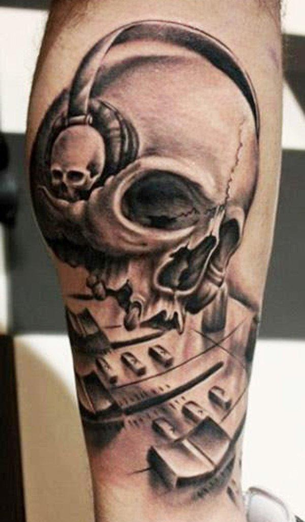 Skull With Headphones Tattoo On Leg