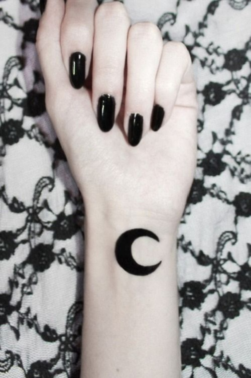 Moon tattoo images designs for Female silhouette tattoo
