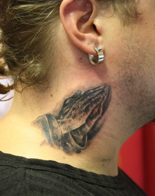 Small Praying Hands Tattoo On Side Neck