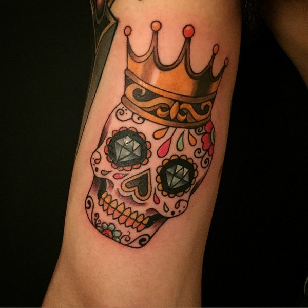 Sugar Skull With Crown Tattoo On Bicep