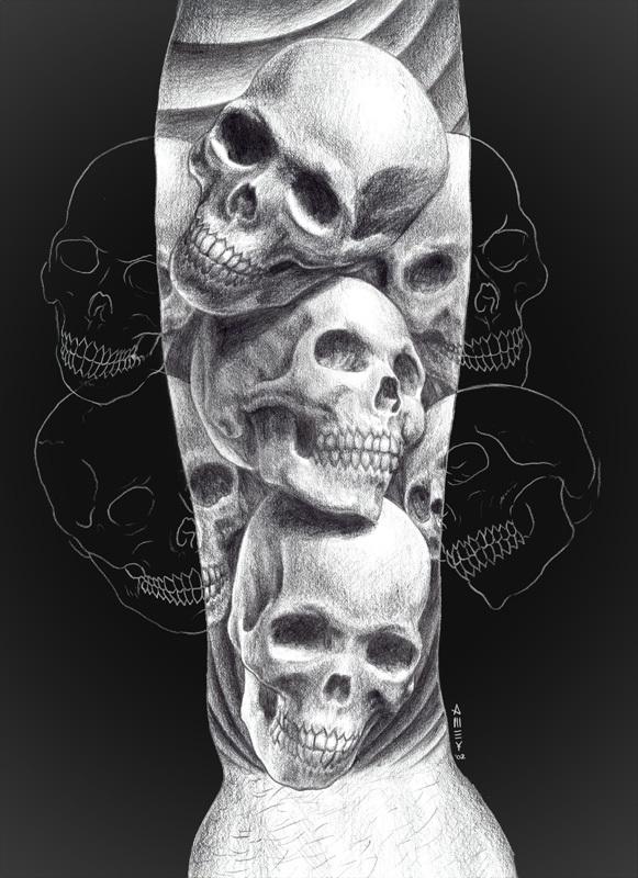 Three Skull Tattoos On Arm Sleeve
