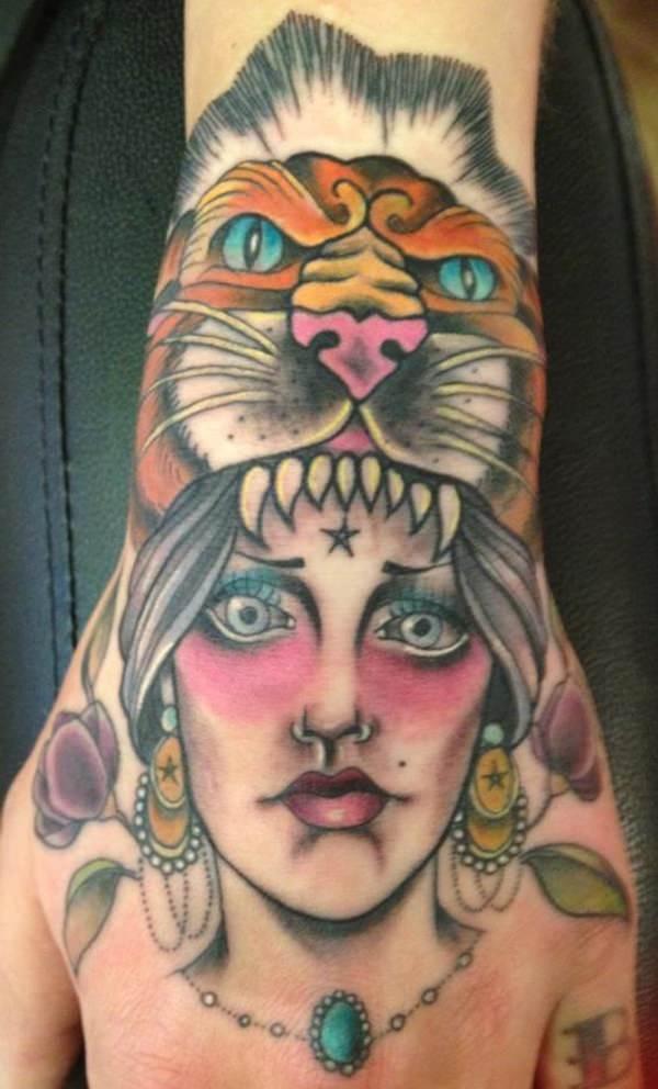Tiger Head Gypsy Girl Tattoo on Hand