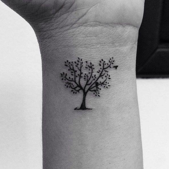 Tiny Tree Tattoo On Wrist