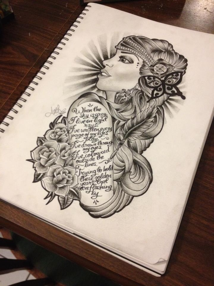 Tombstone And Gypsy Tattoo Design