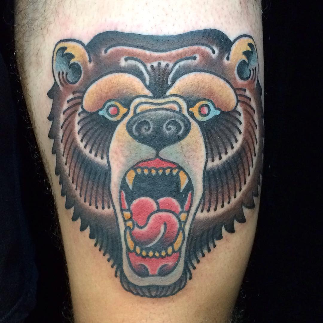 Neo traditional bear head tattoo