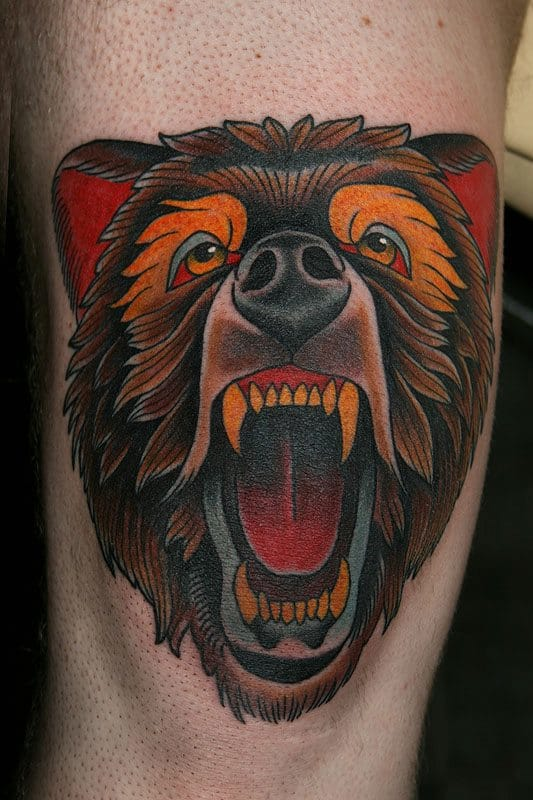 Traditional Bear Tattoo On Bicep