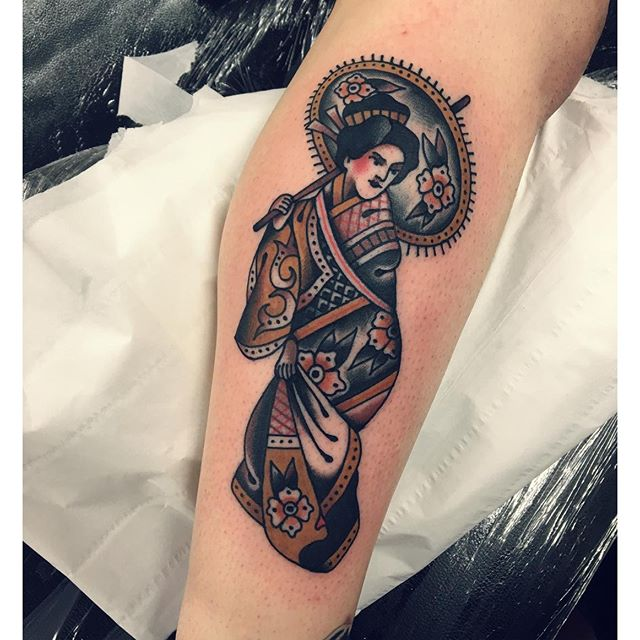 Traditional Geisha Tattoo On Arm Sleeve