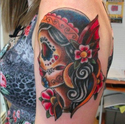 Traditional Gypsy Girl Tattoo On Left Shoulder