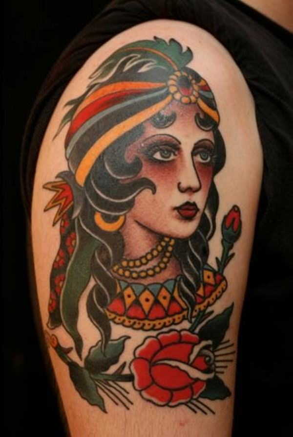 Traditional Gypsy Girl Tattoo On Right Half Sleeve