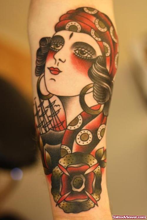 Traditional Gypsy Tattoo On Left Forearm