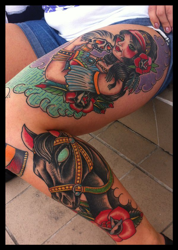 Gypsy tattoo images designs for Horse tattoo traditional