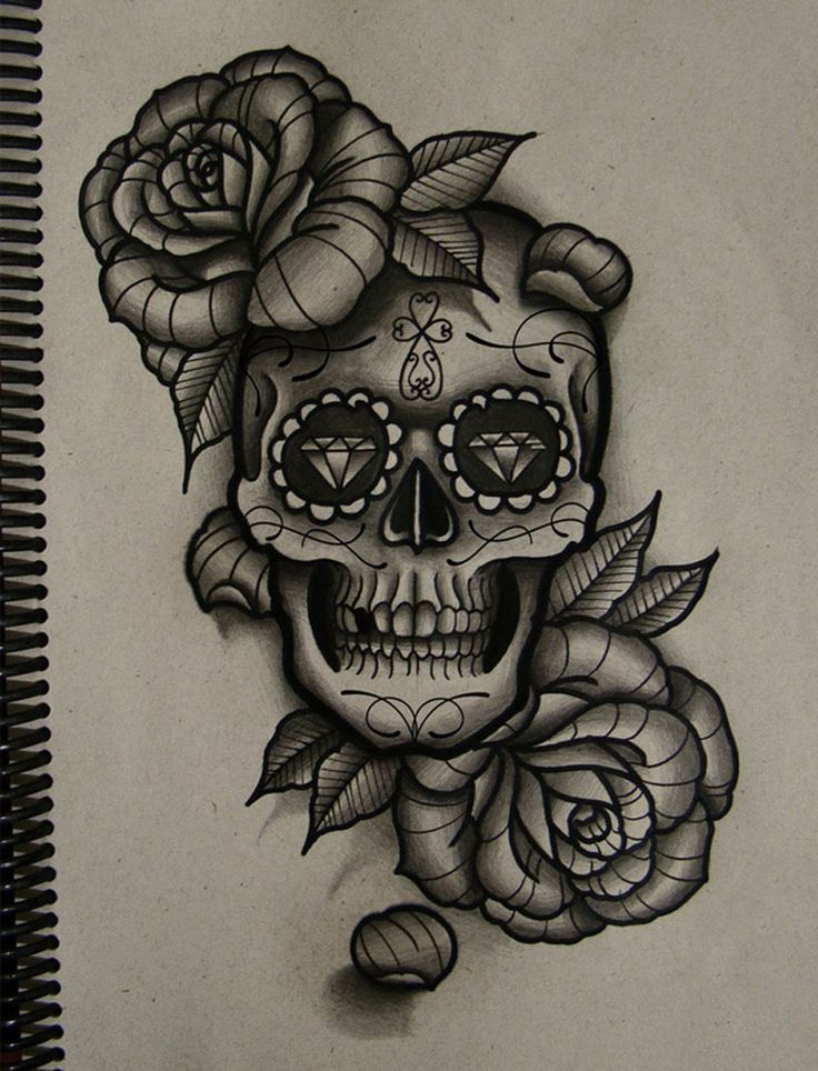 Traditional Roses And Skull Tattoo Design