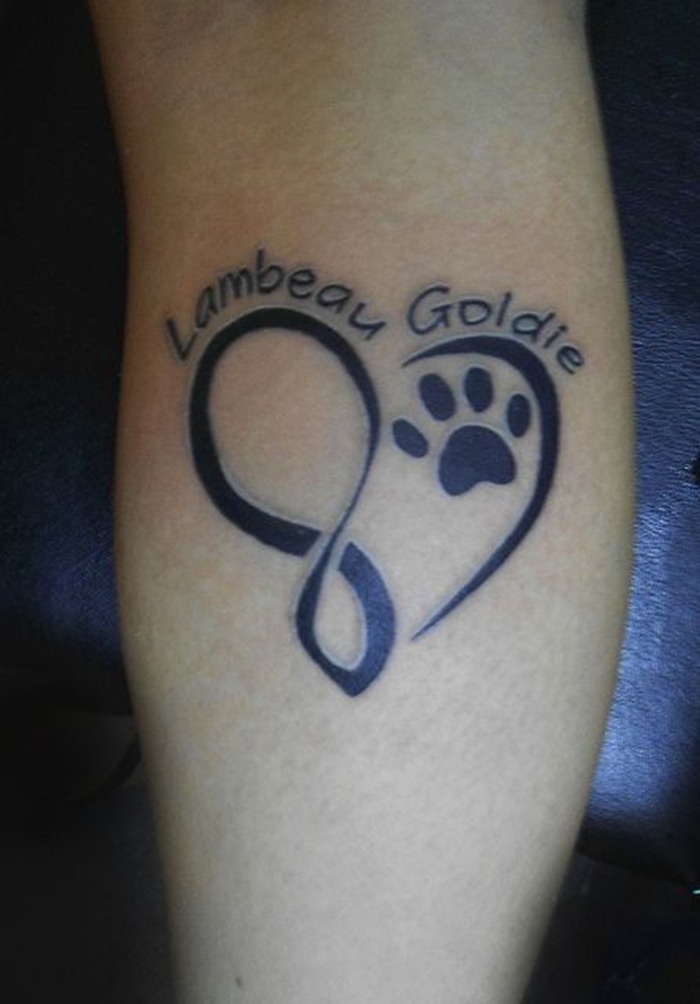 Treble Heart With Paw Tattoo On Back Leg