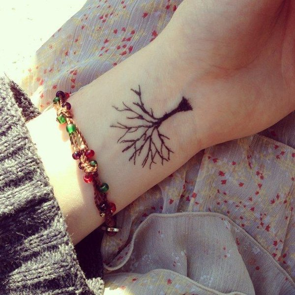 Tree Without Leaves Tattoo On Wrist