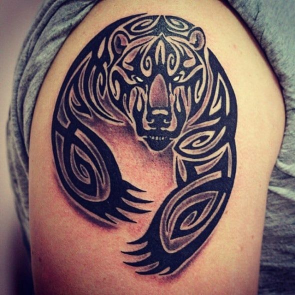 Tribal Bear Tattoo On Shoulder