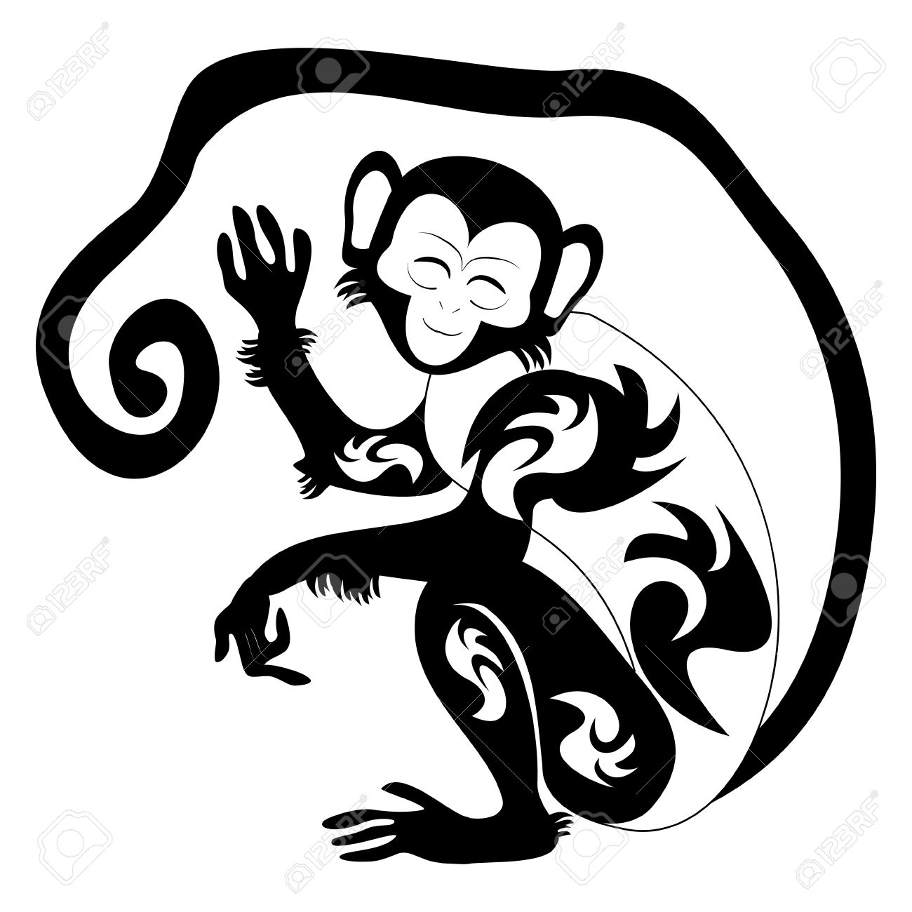 39049b0fa0646 Tribal Monkey Tattoo Design Sample