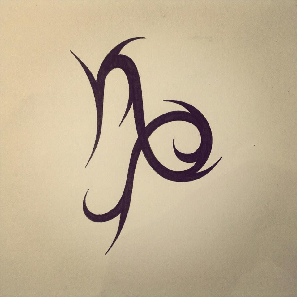 Tribal Capricorn Zodiac Symbol Tattoo Design