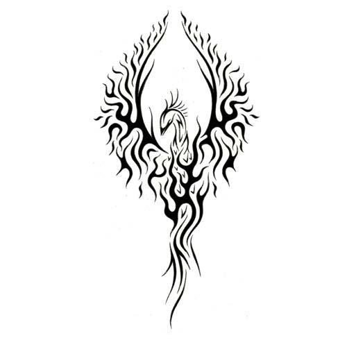Tribal Phoenix Tattoo Design Stencil