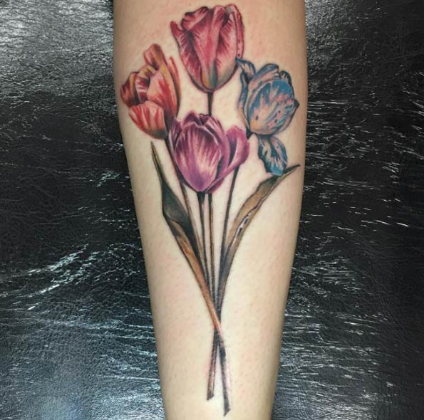 Tulip Flowers Tattoos On Leg