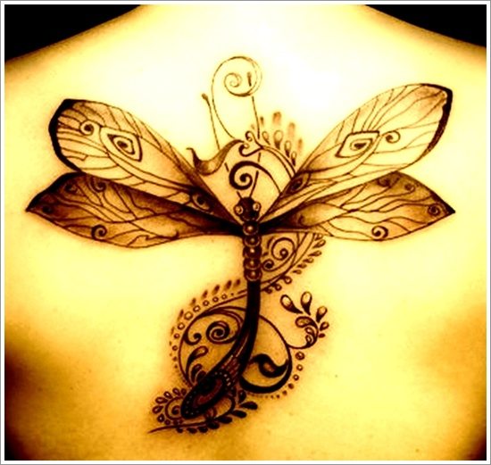Upper Back Grey Dragonfly Tattoo