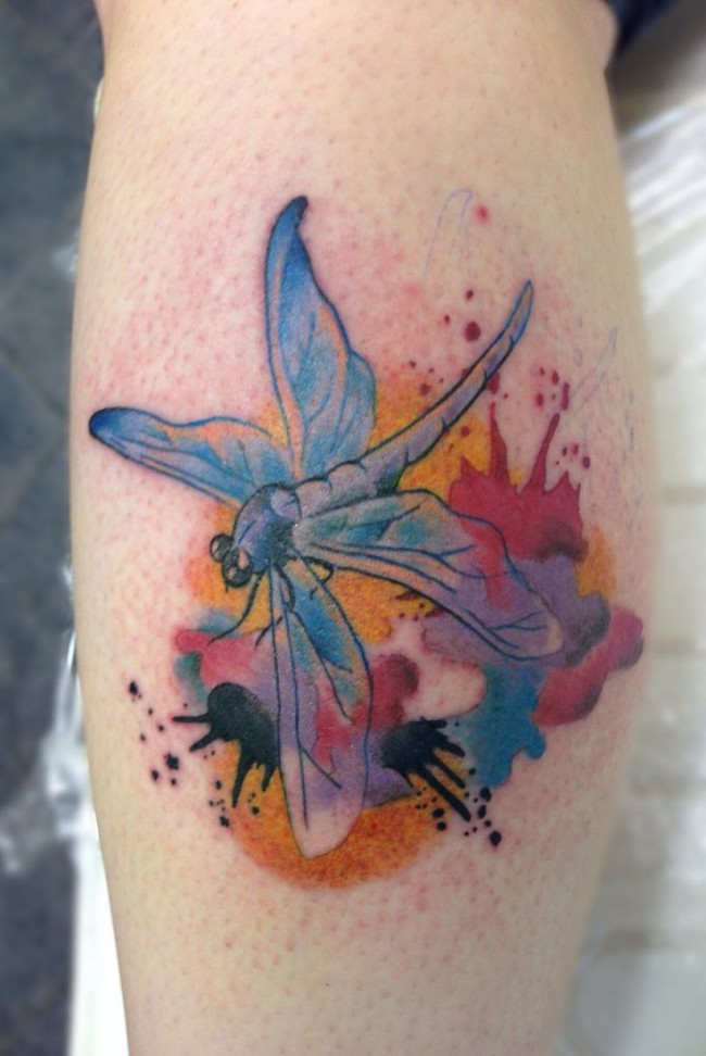 Watercolor Dragonfly Tattoo On Back Leg