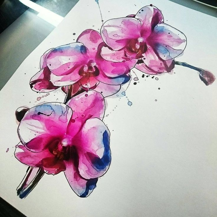 Watercolor Orchid Flowers Tattoos Sample