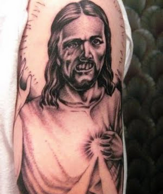 Weird Jesus Tattoo On Half Sleeve