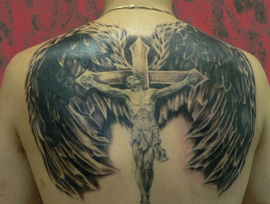 Winged Crucified Jesus Tattoo On Back