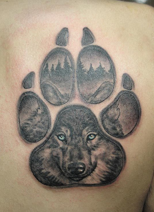 cool wolf paw face tattoo. Black Bedroom Furniture Sets. Home Design Ideas